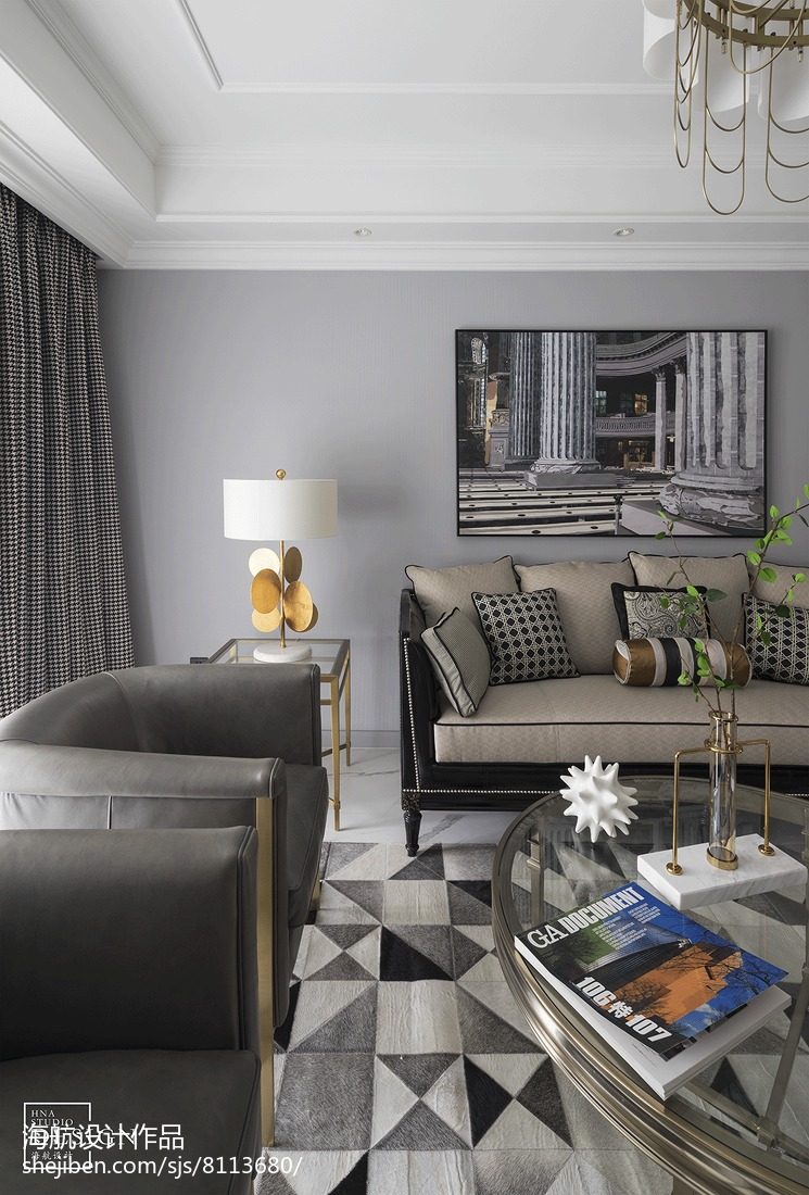 流行需要另辟蹊径,时尚精致的新装饰主义美式客厅1图美式经典客厅设计图片赏析