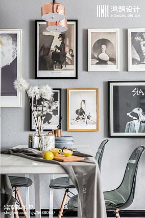 明亮84平北欧三居餐厅装饰美图三居北欧极简家装装修案例效果图