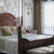精美面积92平美式三居卧室装修实景图片欣赏