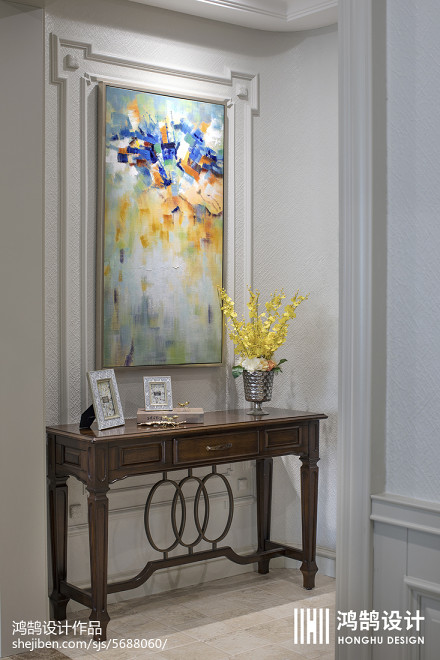 热门103平米三居玄关美式装饰图片欣赏