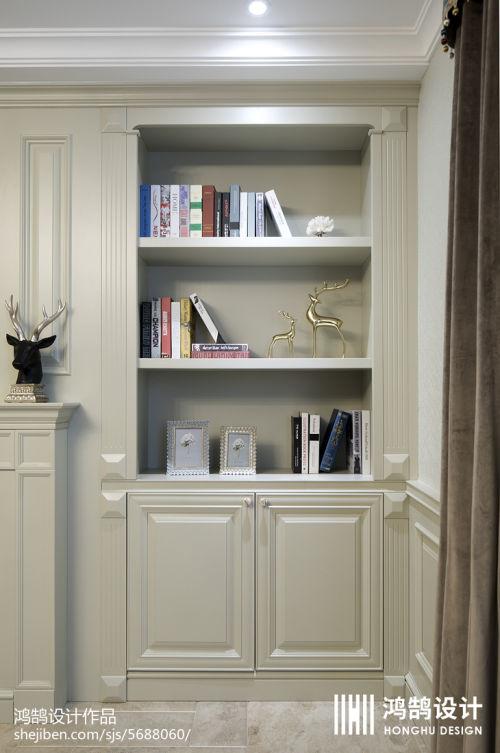 精选面积90平美式三居餐厅装修效果图客厅书柜2图
