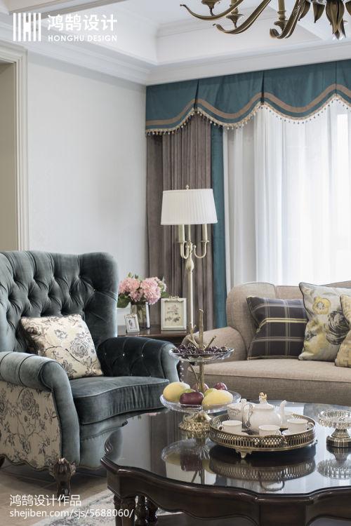 2018精选96平米三居客厅美式装修实景图片客厅窗帘1图