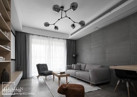 深色系个性客厅设计二居北欧极简家装装修案例效果图