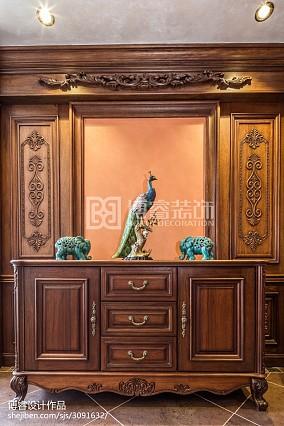 2018精选112平米四居玄关美式设计效果图美式经典设计图片赏析