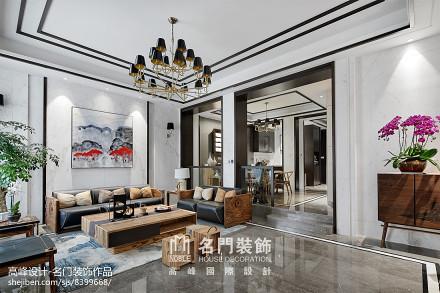 2018精选面积115平别墅客厅中式效果图片别墅豪宅中式现代家装装修案例效果图