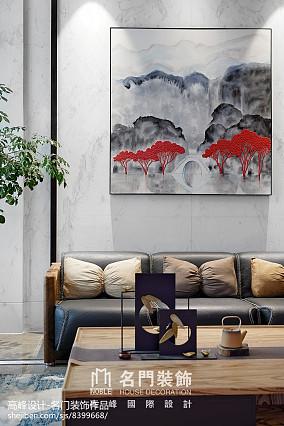 2018面积110平别墅客厅中式欣赏图别墅豪宅中式现代家装装修案例效果图
