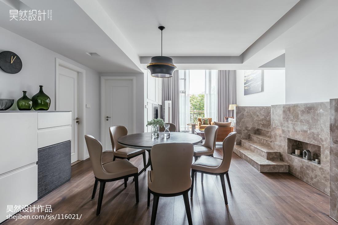 简洁62平简约复式餐厅装修案例厨房木地板现代简约餐厅设计图片赏析