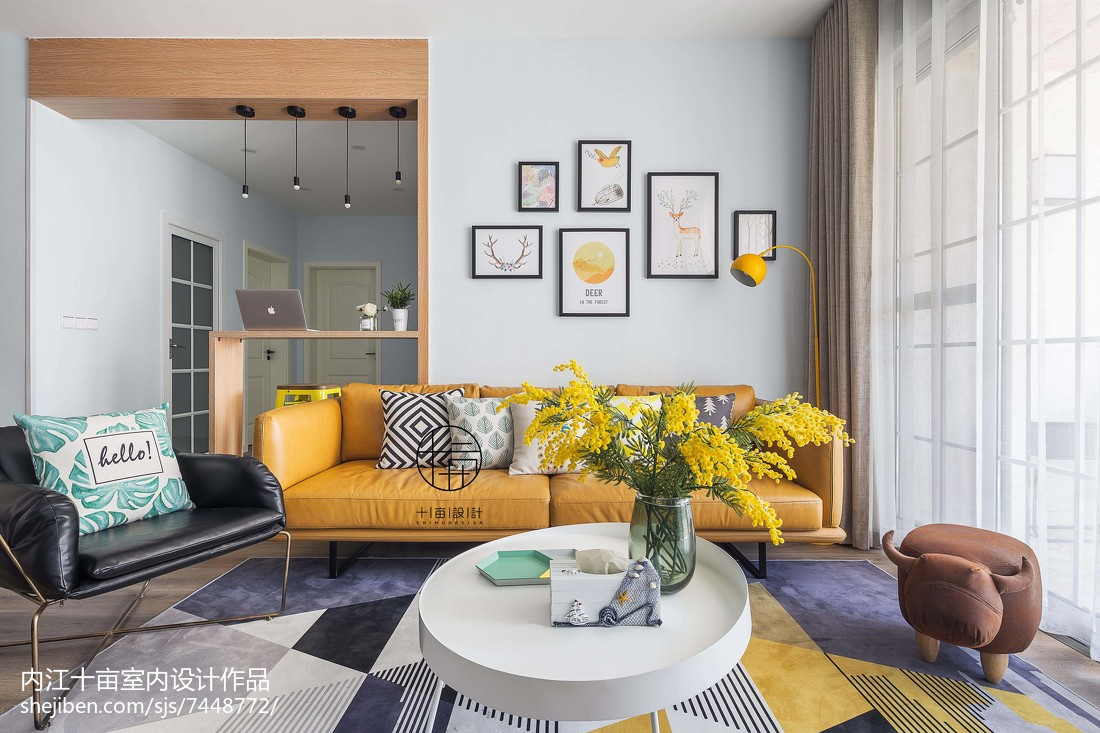 2018面积105平北欧三居客厅装修欣赏图片大全客厅