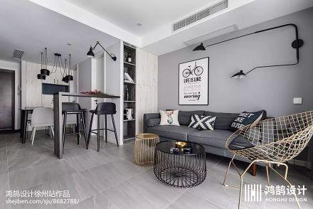 2018面积72平北欧二居客厅效果图片大全二居北欧极简家装装修案例效果图