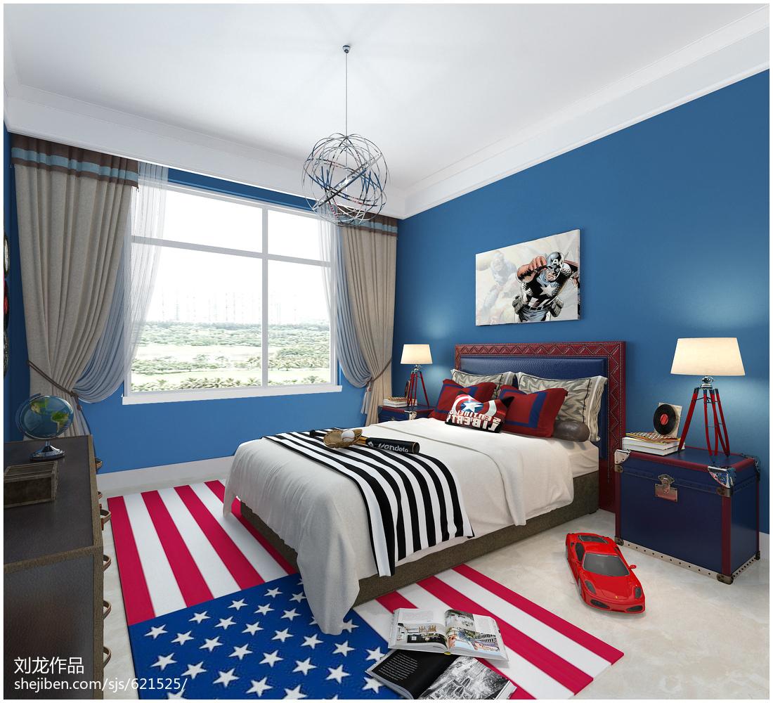 2018四居儿童房中式效果图卧室中式现代卧室设计图片赏析