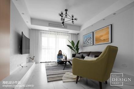 恬静现代客厅吊灯设计三居现代简约家装装修案例效果图