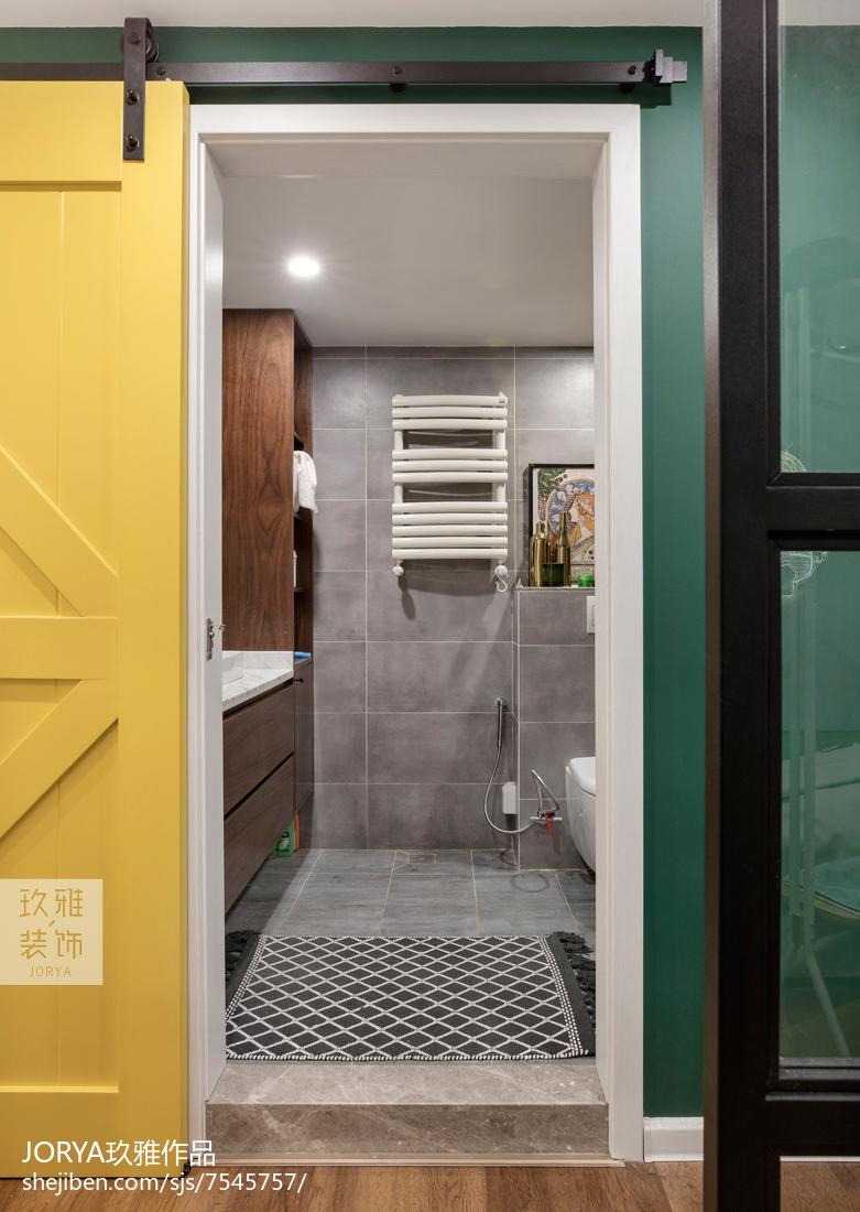 轻奢118平北欧三居卫生间装饰图片卫生间门北欧极简卫生间设计图片赏析