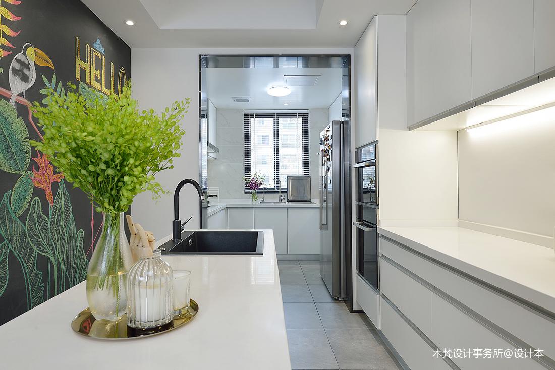 质朴58平简约二居厨房实景图片餐厅现代简约厨房设计图片赏析