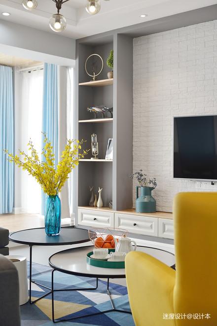 简洁北欧风格背景墙储物柜设计
