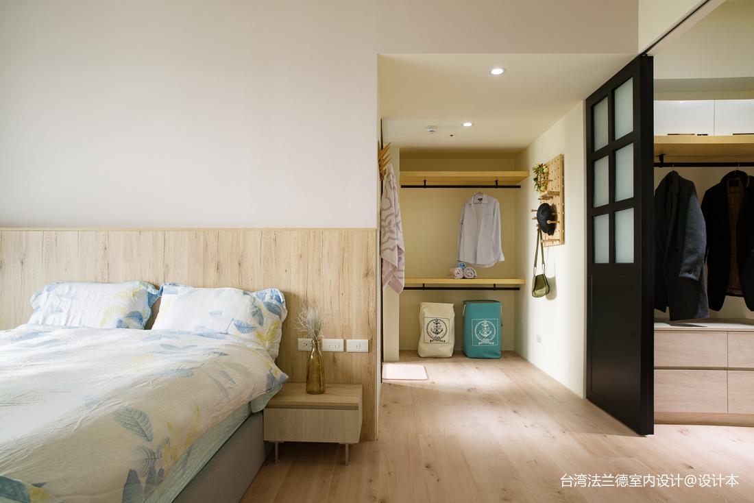 简单北欧三居卧室衣帽间设计卧室北欧极简卧室设计图片赏析