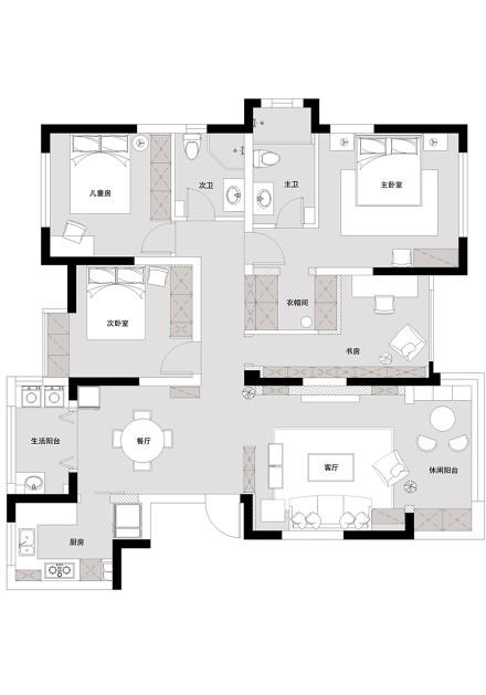 优雅122平混搭三居客厅装修设计图