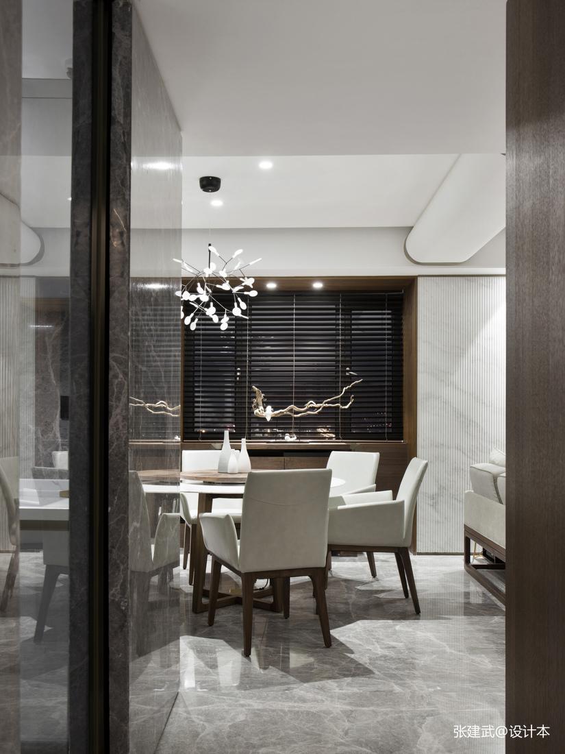 精美82平中式二居餐厅装修案例厨房隔断中式现代餐厅设计图片赏析