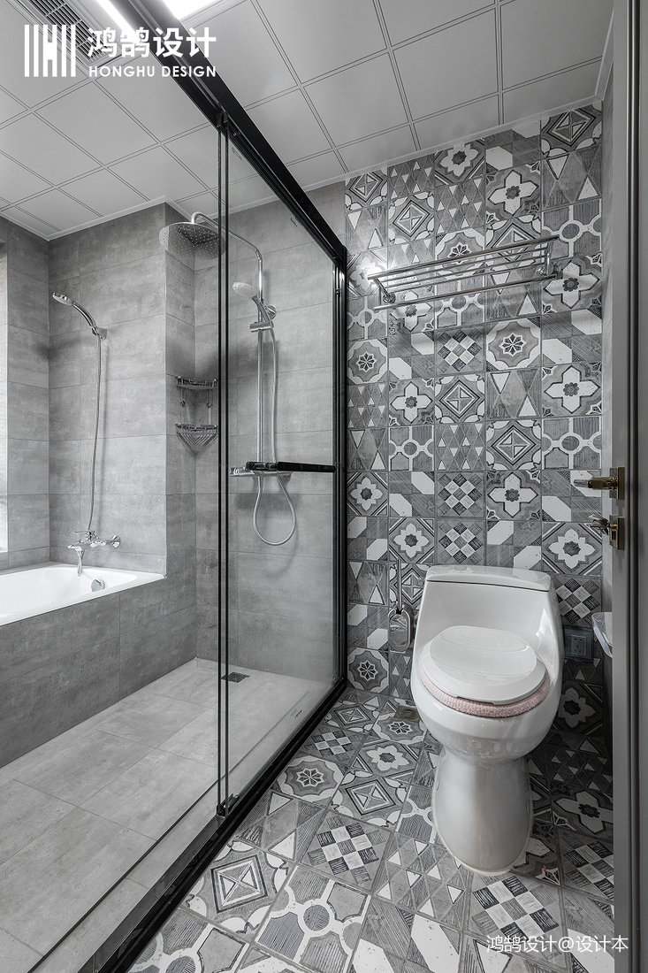优雅55平混搭二居卫生间效果图片大全卫生间马桶潮流混搭卫生间设计图片赏析