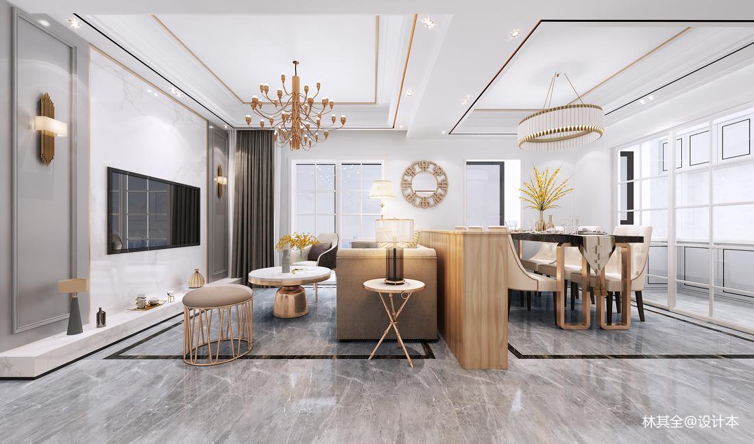 热门二居客厅实景图片61-80m²二居欧式豪华家装装修案例效果图