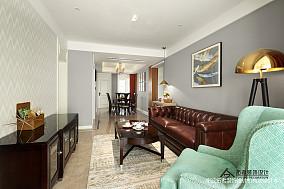 典雅83平美式三居客厅装修装饰图三居美式经典家装装修案例效果图