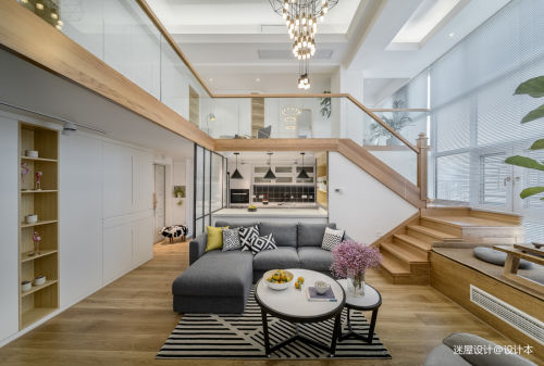 大气209平北欧复式客厅设计案例客厅软装201-500m²北欧极简家装装修案例效果图
