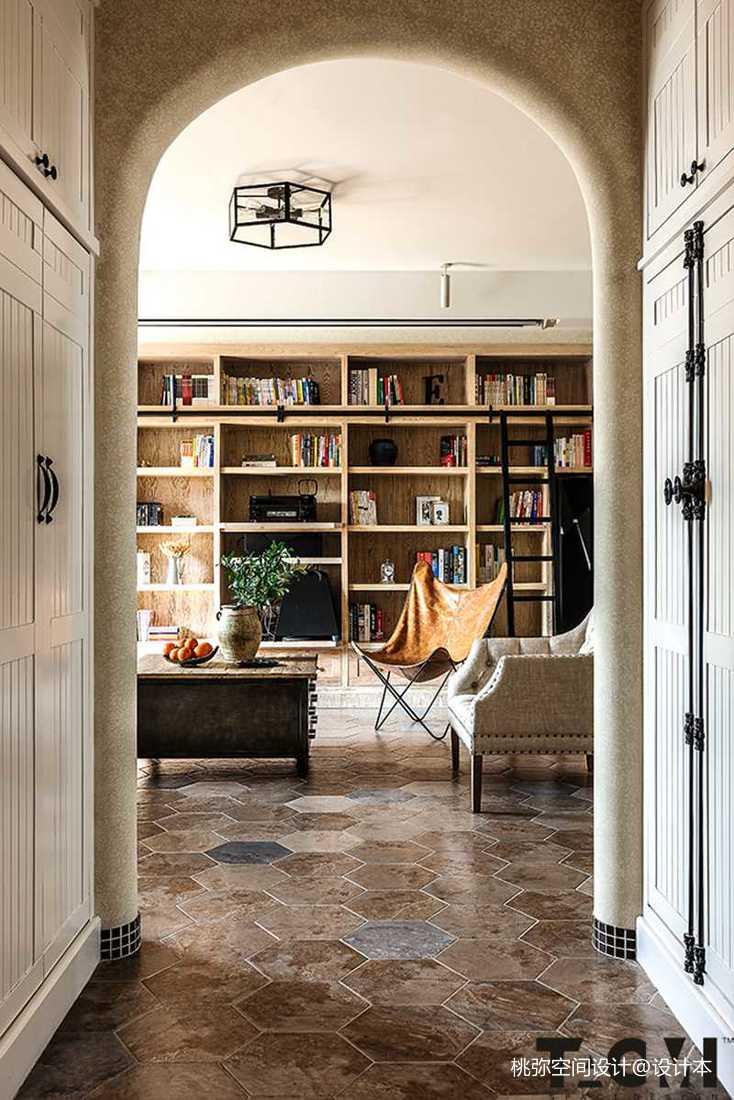 精选130平米四居客厅田园装修欣赏图客厅书柜美式田园客厅设计图片赏析
