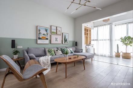 明亮100平北欧三居客厅效果图片大全三居北欧极简家装装修案例效果图