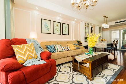 2018精选107平方三居客厅美式效果图片大全客厅