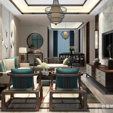 质朴296平中式样板间客厅实景图