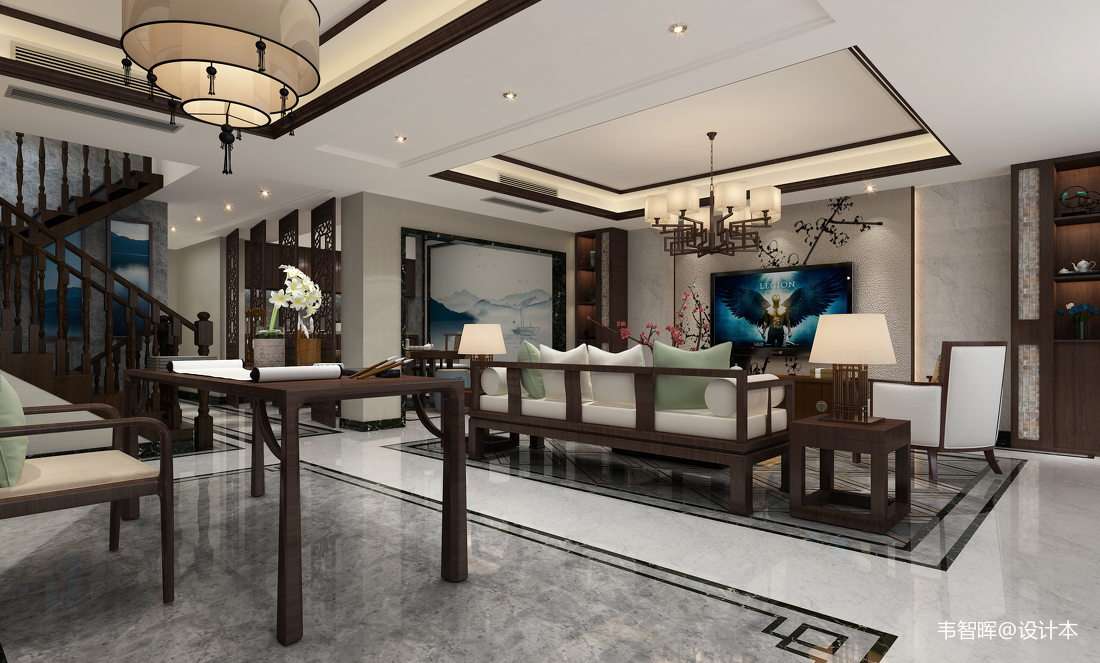 中式客厅简装效果图别墅豪宅中式现代家装装修案例效果图