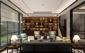 精选面积119平别墅客厅中式装修实景图别墅豪宅中式现代家装装修案例效果图