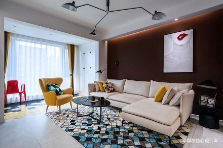 优雅78平北欧二居客厅装修图