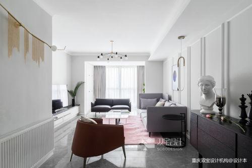 简洁132平法式二居客厅装修效果图客厅窗帘二居欧式豪华家装装修案例效果图