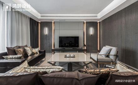 优美75平现代三居客厅布置图
