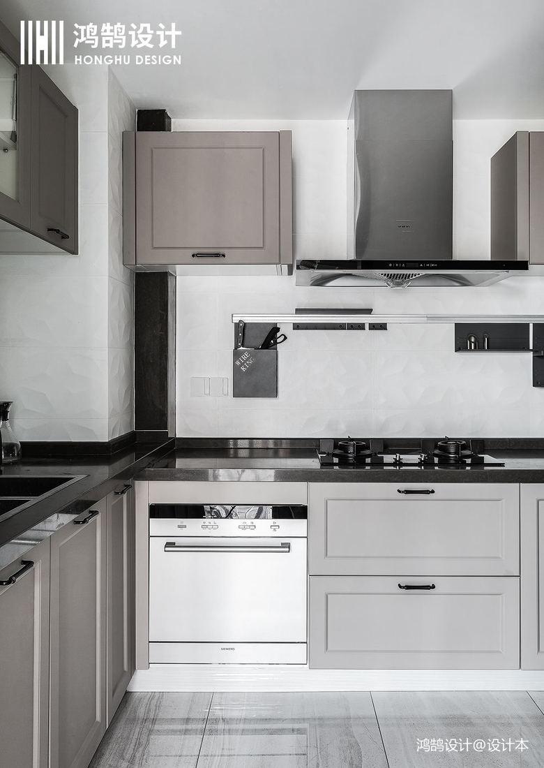 简洁81平现代三居厨房装修设计图餐厅现代简约厨房设计图片赏析