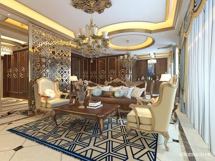 2018精选136平米四居客厅新古典装修实景图片大全四居及以上美式经典家装装修案例效果图
