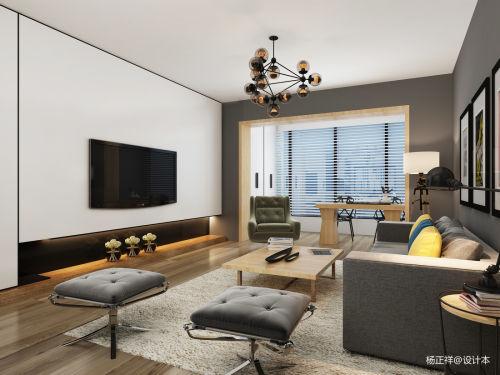 精美74平米二居客厅简约实景图片大全客厅电视背景墙61-80m²现代简约家装装修案例效果图