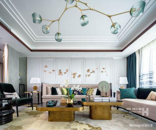 优美350平中式四居客厅美图客厅窗帘201-500m²四居及以上中式现代家装装修案例效果图