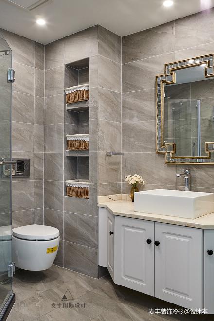 优雅126平美式三居装修设计图卫生间