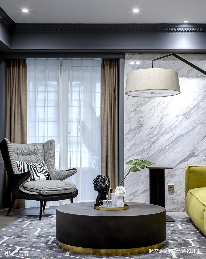 【诗享家出品】这个家把高级灰演绎得如此惊艳客厅1图现代简约客厅设计图片赏析