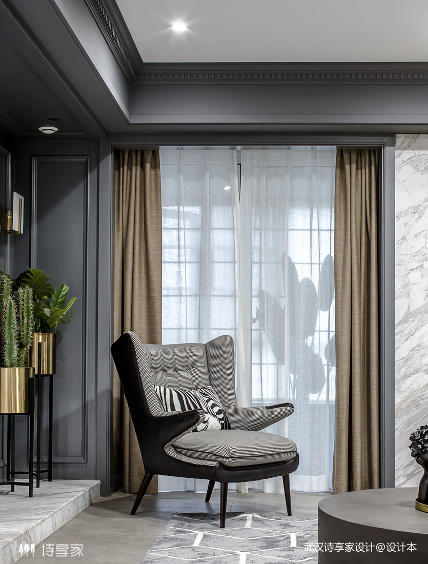 【诗享家出品】这个家把高级灰演绎得如此惊艳客厅3图现代简约客厅设计图片赏析