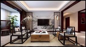 2018精选面积124平别墅客厅中式效果图片欣赏