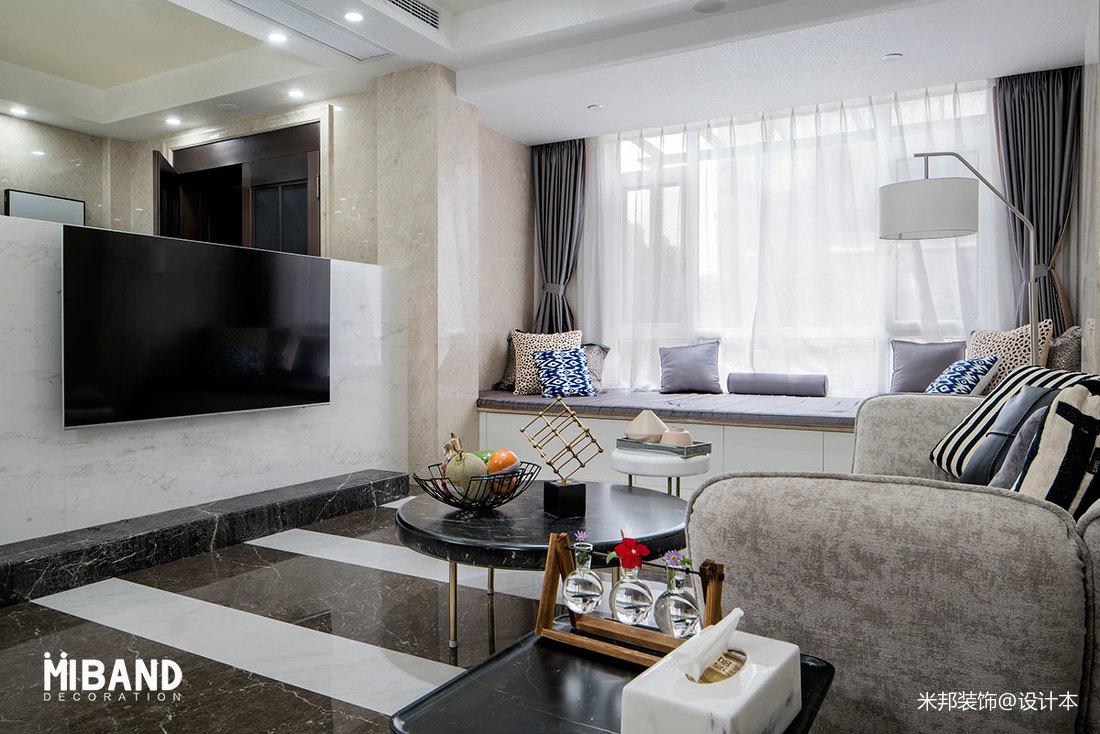 精美面积111平别墅客厅混搭装修实景图片大全客厅