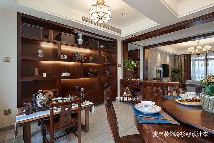 悠雅141平中式三居餐厅装饰图三居中式现代家装装修案例效果图