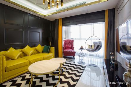 一个人住102㎡,改动一扇门,变大衣帽间,客厅配色美的像王妃_3294360二居潮流混搭家装装修案例效果图