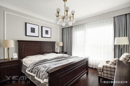 一野设计【软装设计】朗诗绿郡|142m²|美式轻奢卧室