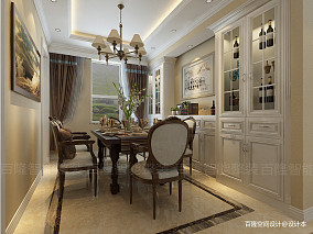 2018精选129平米四居餐厅美式装修设计效果图片大全