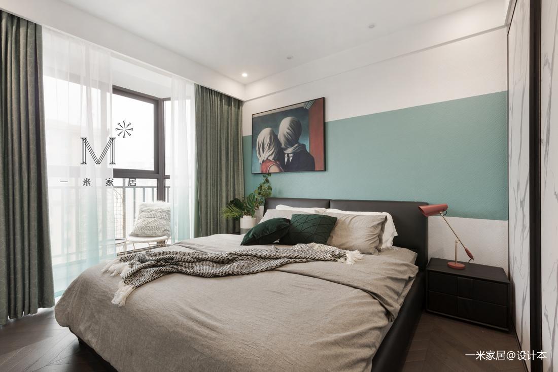 轻奢126平现代三居卧室装修案例卧室窗帘现代简约卧室设计图片赏析