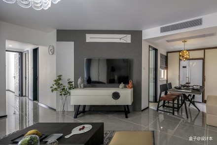 热门大小75平混搭二居客厅装修效果图片