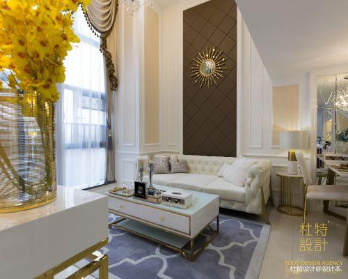 热门面积86平简欧二居客厅效果图片客厅窗帘81-100m²北欧极简家装装修案例效果图